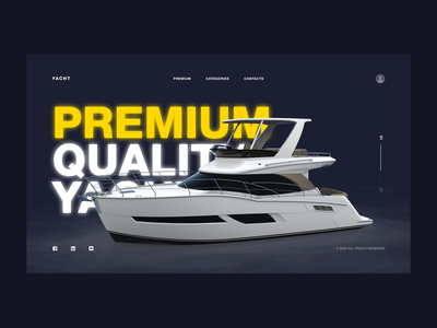 PREMIUM QUALITY YACHTS | 1 DAY = 1 SITE (CHALLENGE) branding sketch graphics colors 2020 trend sport concept clean motion website webdesign minimalism brutalism photoshop aftereffects figma uiux dark ui flat