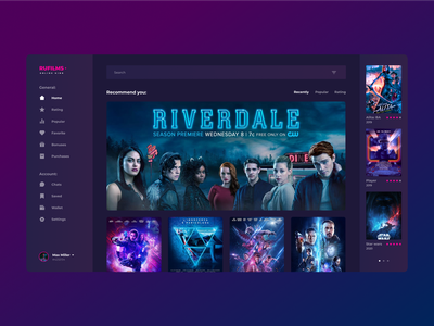 ONLINE CINEMA DARK UI | 1 DAY = 1 SITE (CHALLENGE) blue purple black 2020 trend concept neon sign brutalism minimalism grid sketch figma webdesign ux ui films online dark app dark ui desktop app flat