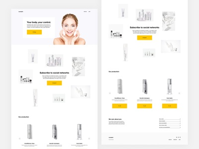 LANDING PAGE FOR THE BRAND OF COSMETICS concept business clean typography branding minimalism landingpage webdesign sketch lights aftereffects brutalism figma ux ui flat