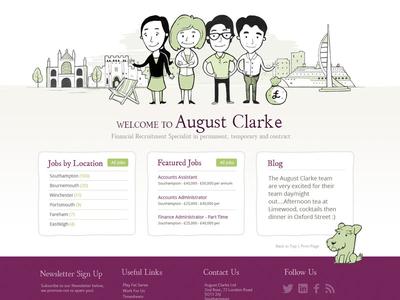August Clarke Homepage recruitment website illustration web design clean web design