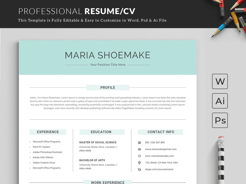 Resume Template Word By Classic Designp On Dribbble