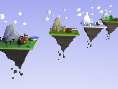 Floating low polly islands - 3D Modelling