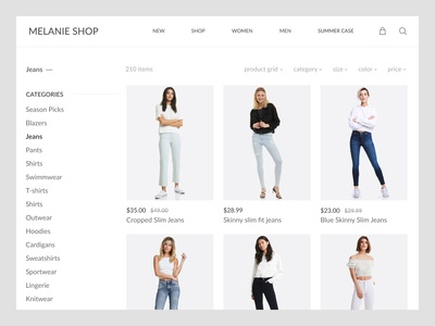 Online Store Category Screen