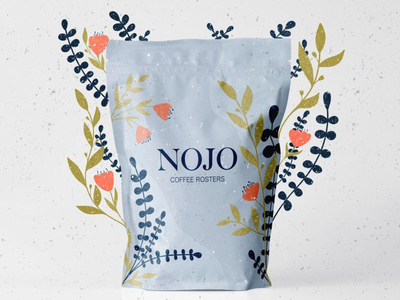 NOJO - Coffee Packaging Design coffee packaging design floral illustration floral design texture illustration coffee coffee packing coffee branding coffee design coffe package logotype typography logo illustration brand identity package design graphic design branding brand