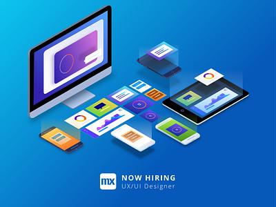 We are hiring!  interface designer ux ui design illustration isometric job hiring