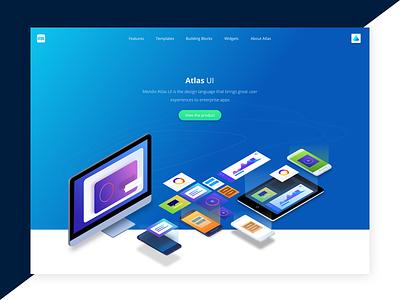 Atlas Mendix isometric devices header illustration website