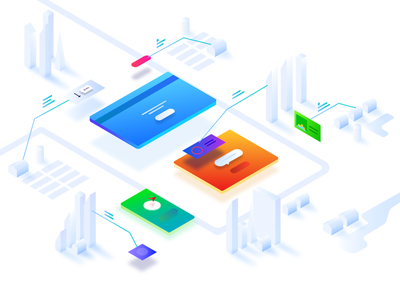 The creation of a user interface isometric ui interface web illustration