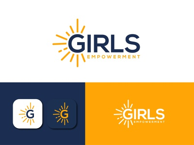 Girls Empower Logo clean sunrays unique minimalist logo flat simple minimal modern lettering wordmark branding vector typography illustration icon logodesign logo power girls