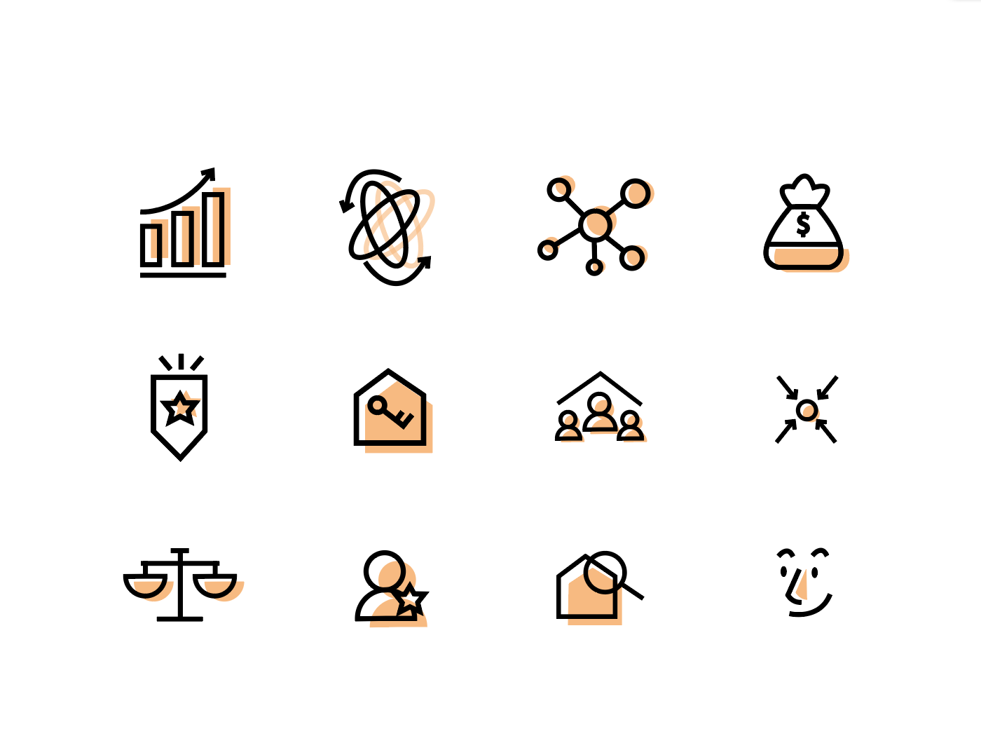 Real estate icons branding icon illustration design