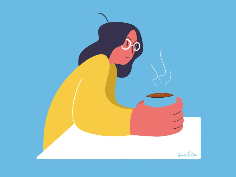 Unfinished Coffee coffee yellow blue photoshop illustration digital art