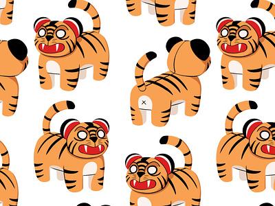 Tigers wallpaper pattern tiger tigers photoshop illustration digital art