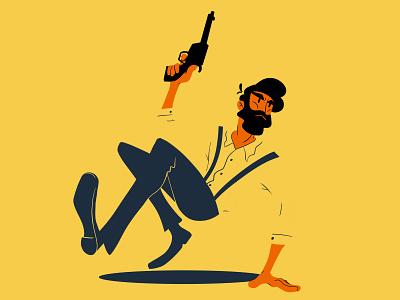 Shoot Out beard blue yellow gunslinger shooter gun photoshop illustration digital art