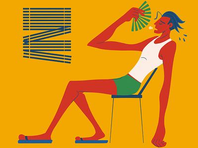 Heat Wave sitting chair sweating sweat hot heatwave illustration digital art