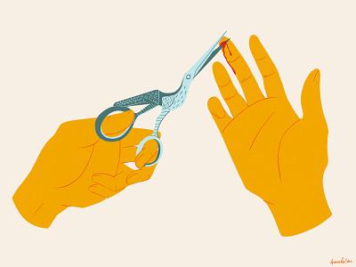 Bird Scissors yellow cut hands hand blood bird scissors scissors illustration digital art