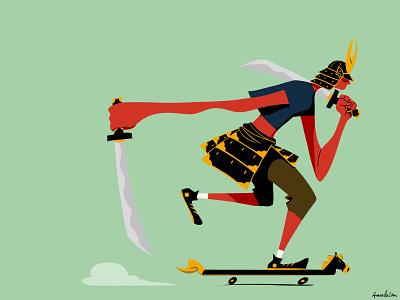 Samurai Skater skateboarder skateboards character design swords samurai skater illustration digital art