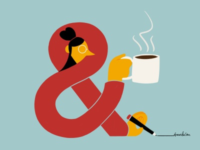 & coffee ampersand photoshop illustration digital art