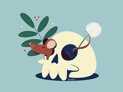 Skull death plant dandelion skull mouse photoshop illustration digital art
