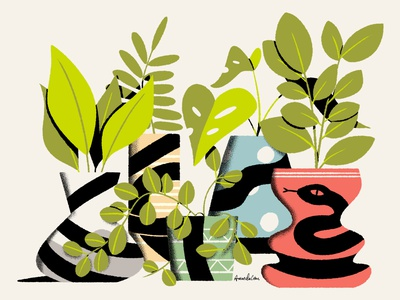 Snake snake houseplants plants vase vases photoshop illustration digital art