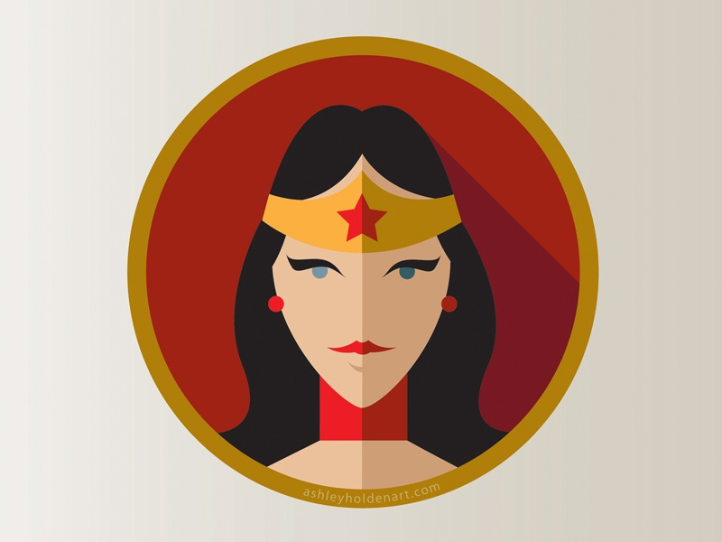 Wonder Woman 'Flat Icon Superhero Challenge' vector design wonder woman logo logo design icon flat icon wonder woman superhero