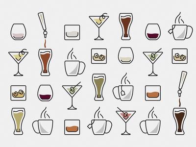 Conversation Is Best Over Drinks on tap whiskey martini wine beer vector line art drinks illustration
