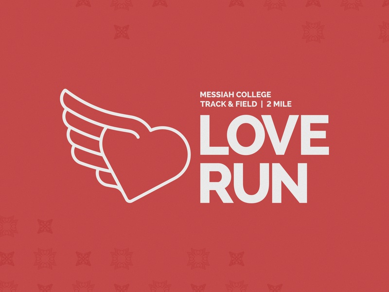 Messiah College Love Run logo vector pattern design logo design running identity design