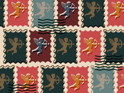 Send Love valentines day love dribbbleweeklywarmup cupid pattern stamp vector illustration