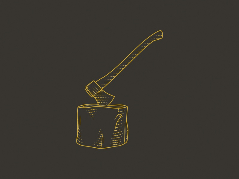 Ax Meets Stump stump ax line art vector illustration