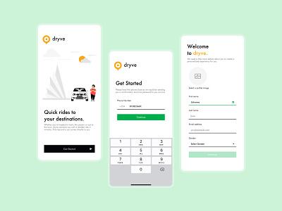 Cab Hailing App - Dryve signup onboarding taxi cab bolt uber design uber uiuxdesigner ux uiux ui design ui design uidesign