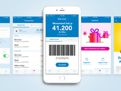 Air Miles - Dutch Loyalty Programme mobile illustration business settings data gift loyalty air miles app transactions ios app screen