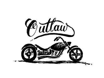 Outlaw  motorcycle chopper calligraphy sketch lettering brushpen vector