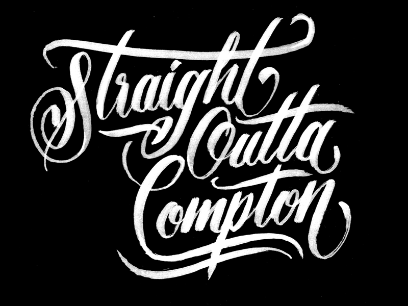 Straight Outta Compton script flourishes movie illustration sketch hand drawn type lettering type calligraphy brushpen