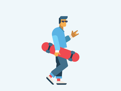 Skater dribbble behance rock cool hair shades red yellow white blue contrast boy skater flat illustration