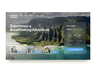 Flight Booking Page adobexd behance dribbble design uiuxdesign vacation holiday island blur homepage uiux schedule special offer explore adventure airlines flights booking ui uidesign