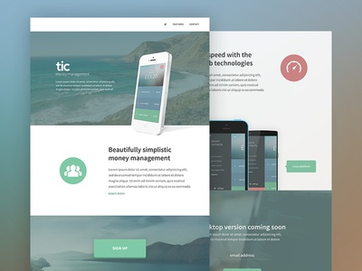 tic Website Design ui web design website landing page iphone clean minimal flat