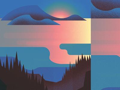 Goose Bay National Park sun lake trees park landscape illustration