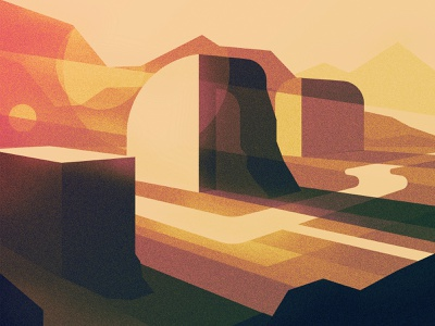 Book River Valley landscape illustration valley light texture sun river