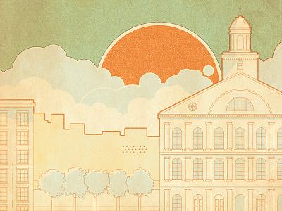 Fanueil Hall WIP boston history illustration snacks