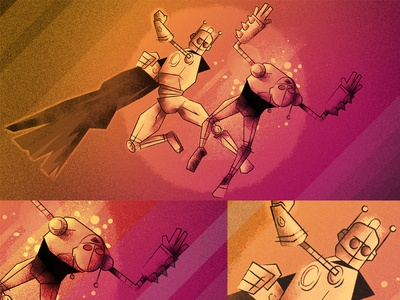 Bots Incorporated animation superhero hubspot texture illustration punch robot bot