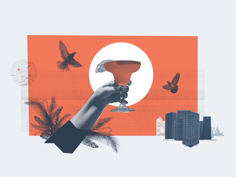 Cheers! hand carve city pigeon cheers drink collage