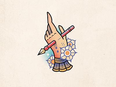Dig flowers potato pen ink hand