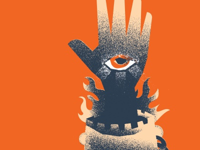 All Seeing castle fire poster texture eye