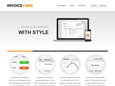 InvoiceCore web design minimal simple invoicecore