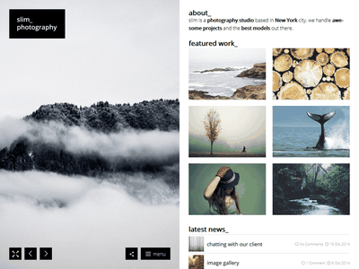 Slim Photography minimal clean photography theme wordpress
