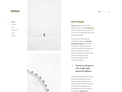 Papaia - Creative Site Template portfolio photography white space less is more minimal