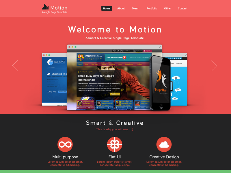 Motion template free PSD flat ui motion single page 7oroof.com template