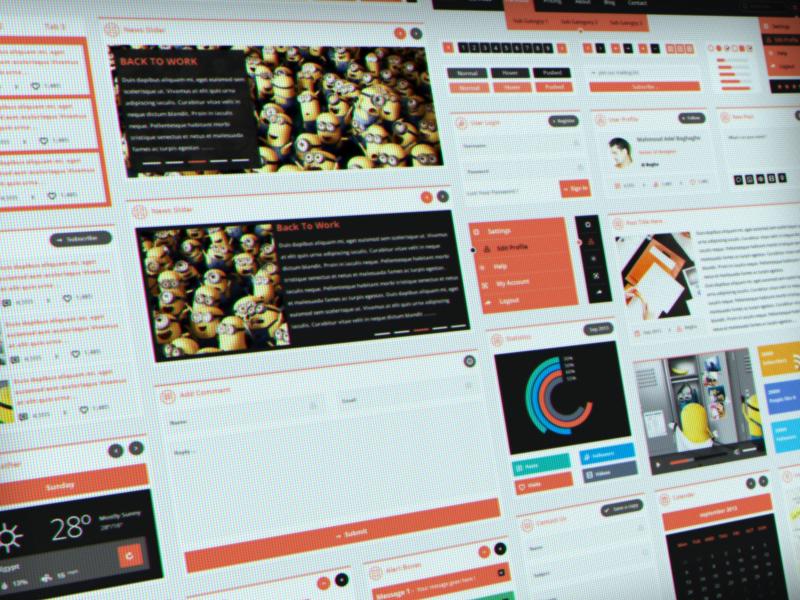 Flatty UI Kit ( Free PSD ) flatty flat ui flat ui kit begha 7oroof.com free psd flat concept