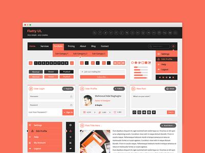 Flatty UI Free PSD Kit  flat ui kit flat flatty ui ux design ico