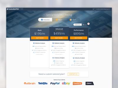 SimilarWeb Pricing Page design