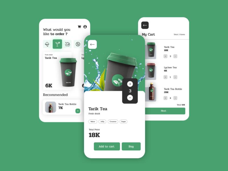 Order Drink App Design Idea drink flat minimal app ui design