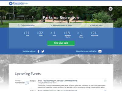 City of Bloomington, Indiana Parks and Recreation Portal